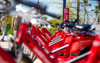 mehrere rote Leihfahrräder stehen aufgereiht hintereinander