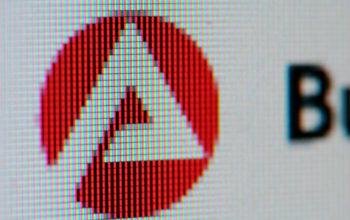 verpixeltes Symbol des Jobcenters - ei stark stilisiertes weißes A auf rotem Grund