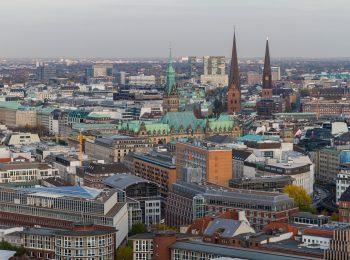 Luftaufnahme der Hamburger Innenstadt