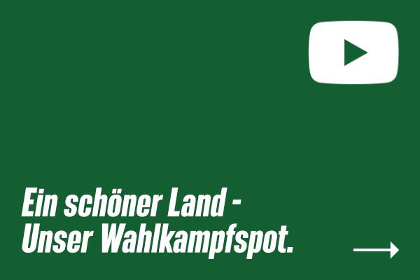 """Sharepic mit Youtube-Logo & Text """"Ein schöner Land - Unser Wahlkampfspot."""""""