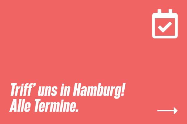 """Sharepic mit Kalender-Icon & Text: """"Triff' uns in Hamburg! Alle Termine."""""""